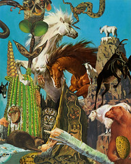 forty-one animals and a nut (bezembinder) Tags: cactus horse fish collage snake almond donkey goat crab frog beaver owl nut mussel deere palomino etcetc bezembinder