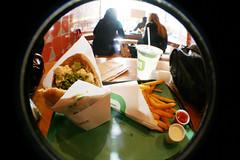 Maoz Veg (viviandnguyen_) Tags: nyc newyorkcity ketchup wideangle fisheye fries falafel maozveg