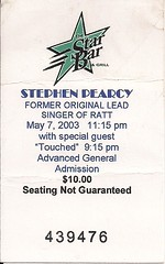 05/07/03 Stephen Pearcy/Touched @ Minneapolis, MN (Ticket)