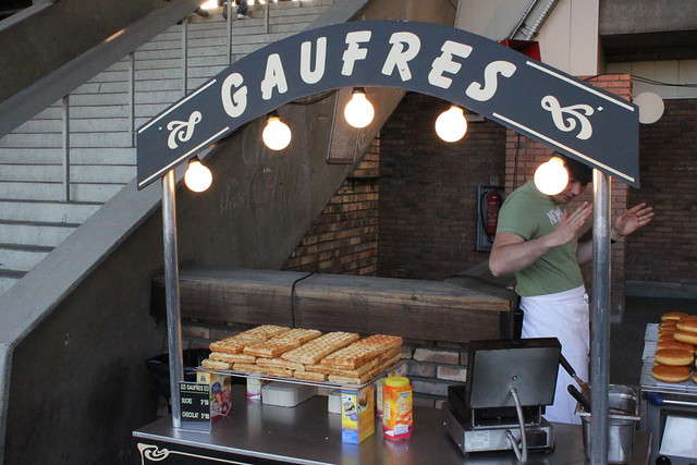 Yes, a waffle stand at a soccer game in Paris