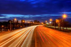 (Kevin Dickert) Tags: road longexposure sky chicago night clouds lights twilight highway traffic dusk wideangle lakeshoredrive lsd nighttime lighttrails bluehour expressway hdr highdynamicrange nightfall roadway blueperiod canonef1740mmf4l canon5dmarkii iamhydrogen kevindickert