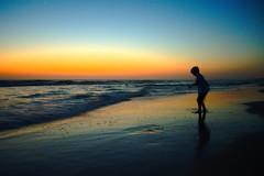 [フリー画像] 人物, 子供, 人と風景, 夕日・夕焼け・日没, ビーチ・砂浜, シルエット, アメリカ合衆国, 201005070300