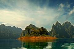 Khao Sok National Park (marijanlisic) Tags: world blue light sky green nature water beautiful clouds photoshop canon landscape thailand nationalpark amazing holidays lac 7d processing khaosok ilsland