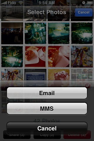 Multiple photo sharing on iPhone
