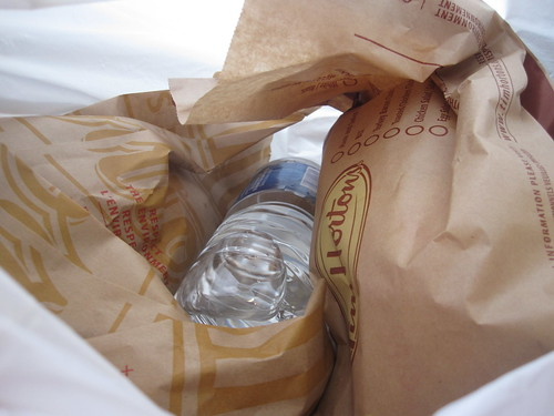 Chicken sandwich, water, donuts at Tim Horton (Toronto) - $6.14