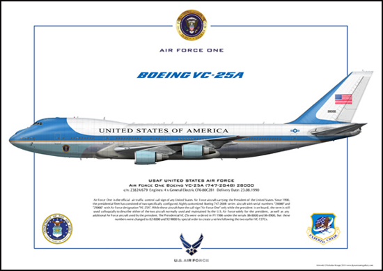 Air Force One Boeing VC-25A (747-2G4B) 28000 , USAF United States Air Force