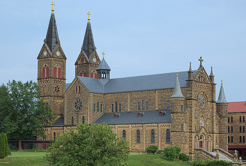 Saint Meinrad Archabbey, in Saint Meinrad, Indiana, USA - exterior of church