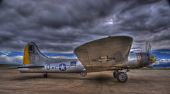 Liberty Belle B-17 Flying Fortress (Thad Roan - Bridgepix) Tags: chicago news clouds airplane photo colorado crash aircraft military denver b17 worldwarii boeing bomber propeller flyingfortress hdr 201005 warbird facebook broomfield libertybelle photomatix jeffcoairport