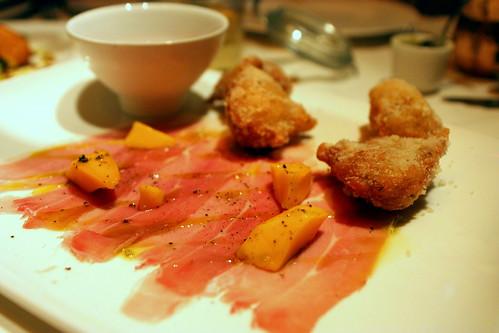 "Organic Prosciutto ""house cured"", pasta fritta, Lambrusco"