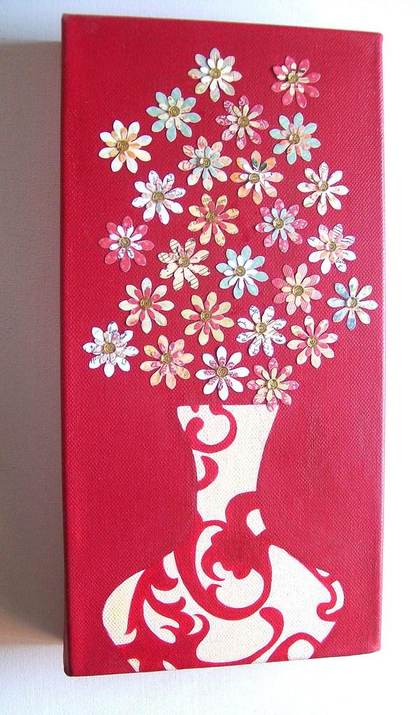 Flower Vase Mixed Media Canvas