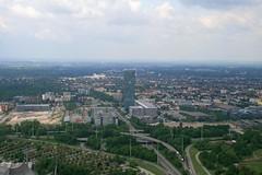 """02 """"Uptown """" tower and N-E Munich (jepoirrier) Tags: sky tower skyscraper germany munich mnchen landscape deutschland o2 uptown hochhaus olympiaturm birdview georgbrauchlering"""