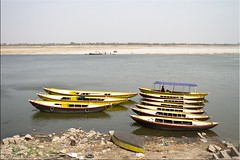 Yellow Boats (Ursula in Aus (Traveling - Patchy WiFi)) Tags: india yellow boat wooden varanasi ganga ganges ghats theghats earthasia