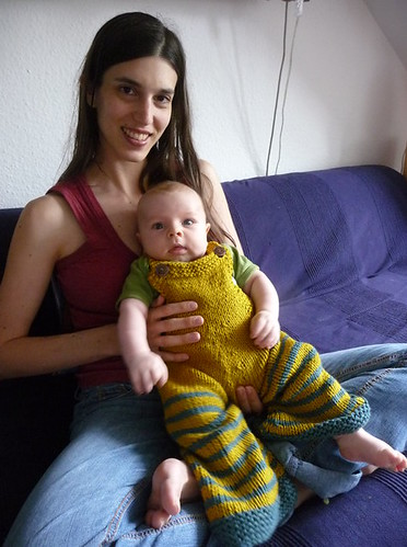 sibz and ilan in his new knitted overalls.