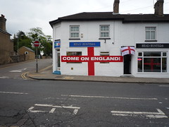 Head Hunters come on England (Ambernectar 13) Tags: morning red white may saturday barbershop worldcup essex barbers 2010 chelmsford headhunters georgecross springfieldroad englandflag comeonengland