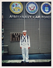 The Recruit (antonkawasaki) Tags: portrait army candid unitedstatesofamerica navy streetphotography backpack marines sailor airforce memorialday fleetweek timessquarenyc therecruit antonkawasaki iphone3gs medalofhonorrecipients crossprocessapp youngrecruitstandinginfrontofusarmedforcesrecruitingstation whitesailoruniform