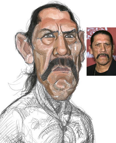digital sketch of Danny Trejo - 3 small