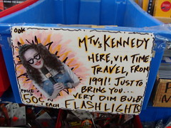 """MTV's Kennedy here, via time travel, from 1991!  Just to bring you...very dim bulb flashlights!"""