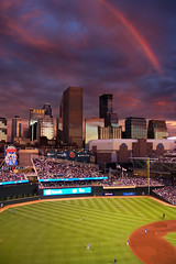 Targeted Rainbow (photo.klick) Tags: sunset sky usa sports field minnesota skyline clouds america us rainbow downtown unitedstates baseball outdoor stadium unitedstatesofamerica minneapolis photoblog northamerica fans twincities jol minnesotatwins targetfield katsingercom