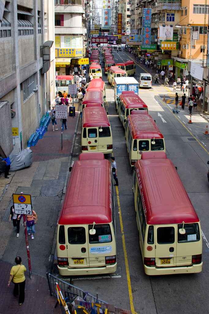 Red minibuses in Mong Kok