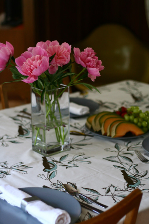 Mom's B-Day Peony's and new Tablecloth