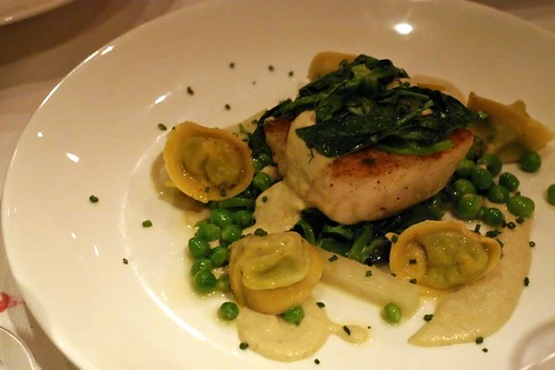 mushroom dusted wild alaskan halibut; crushed pea tortellini, pea tendrils, cured orange, kohlrabi, peas, roasted fennel puree