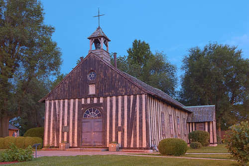 Holy Family Log Church, in Cahokia, Illinois, USA - exterior at dusk