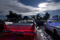 Pneumonia Acres (Lost America) Tags: lightpainting night plymouth fullmoon 1958 valiant junkyard 1960 nocturnes thebigm