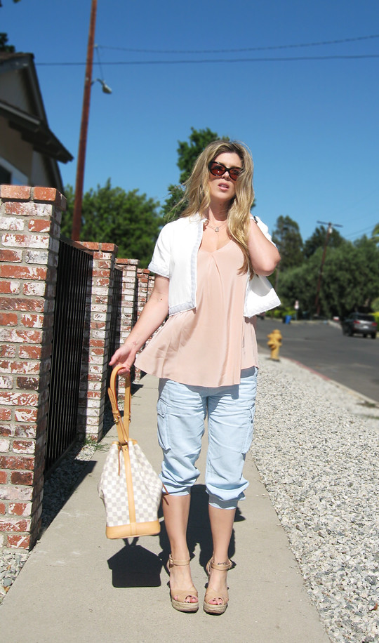 Cargo pants+jimmy choo espadrilles+louis vuitton azur+peach and blue and white