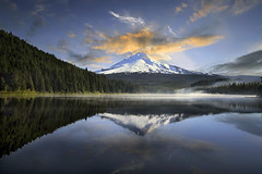 Sunrise at Trillium Lake, Oregon 5 - HDR (David Gn Photography) Tags: morning trees sky mist mountain reflection nature fog clouds oregon sunrise landscape mounthood hdr trilliumlake flickraward platinumheartaward canoneos7d sigma1020mmf35exdchsm platinumpeaceaward mygearandmepremium
