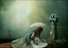 Lost Without You (violscraper) Tags: grave daisies cross victorian parasol poppies unbrella pareeerica artuniinternational