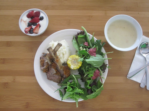 Cauliflower soup, lamb chops, mashed potatoes, salad, corn, yogurt with mint and berries from the bistro - $6