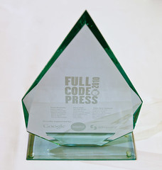 The FullCodePress trophy, donated by SitePoint