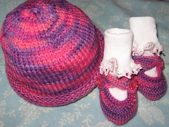 pink hat and booties