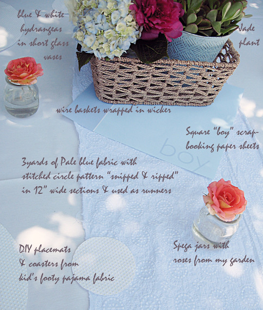 baby shower tables and flower arrangements