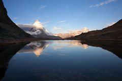 sunrise (dive-angel (Karin)) Tags: lake reflection wonderful see heaven zermatt matterhorn riffelsee 24mm spiegelung eos5d