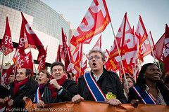 (Hughes Lglise-Bataille) Tags: paris france protest front demonstration pcf jeanluc laurent fra manif manifestation gauche 2010 communistes pensions retraites rforme mlenchon partidegauche