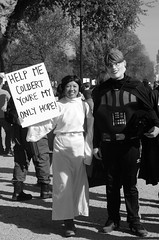Star Wars rally (philliefan99) Tags: people blackandwhite bw sign washingtondc districtofcolumbia jonstewart protest demonstration princessleia nationalmall dcist darthvader crowds stephencolbert comedycentral firstamendment starwarscostumes sarahpalinmask rallytorestoresanity rallytorestoresanityandorfear sanityandorfear rallytokeepfearalive