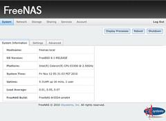 FreeNAS 0.8 pre-Beta System Page