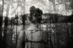 Between Worlds (NoelleBuske) Tags: nikon blackwhite blackandwhite overlay bokeh hair tattoo woman womaninnature noellebuskephotography noellebuske trees mountains