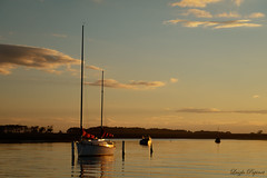 (Laszlo Papinot) Tags: werribeesouth rivermouth werribeeriver water river sunset light boat sailboat