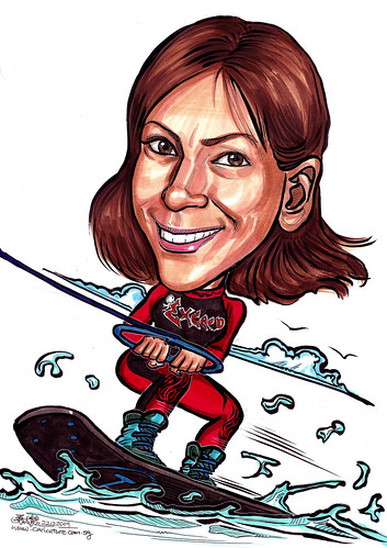 lady caricature wakeboarding A4