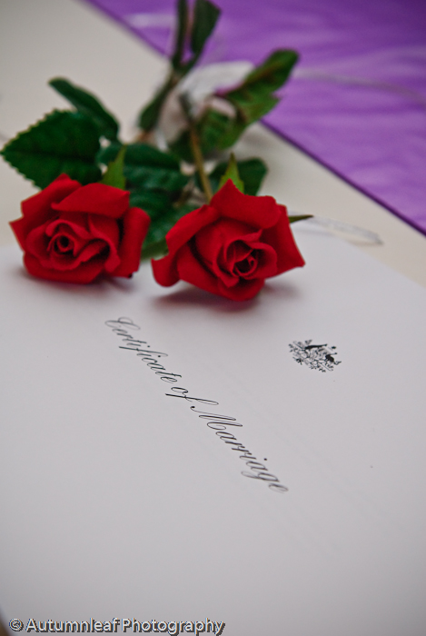 Debbie & Darren's Wedding - The Certificate (by Autumnleaf Photography)