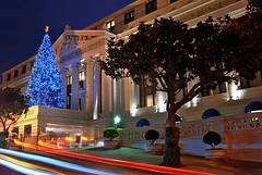 blue lights at the ritz (pbo31) Tags: sf sanfrancisco california christmas street city longexposure travel blue urban usa holiday motion color northerncalifornia architecture night dark hotel moving movement lowlight nikon holidays december cityscape traffic visit christmastree structure ritz d200 ritzcarlton pinestreet 2009 nobhill valet traffictrails lightstream sanfranciscocounty