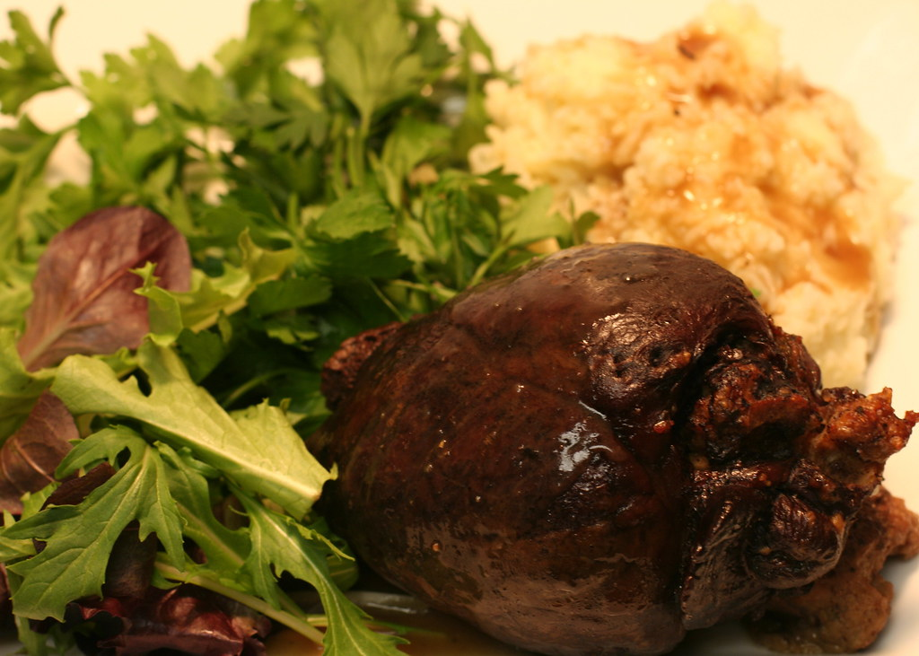 Stuffed venison heart with parsnip mashed potatoes, gravy, and salad
