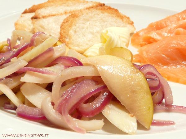 insalata tiepida cipolle finocchi mela