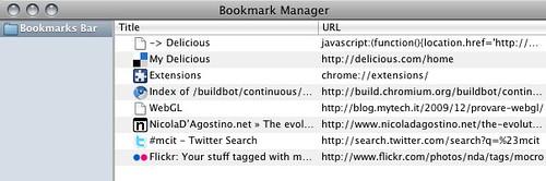 Chromium for Mac - Bookmark Manager