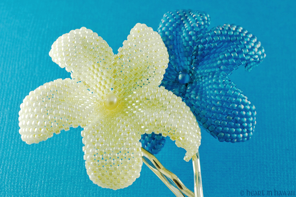 beaded plumeria flowers - pearly yellow and ocean blue