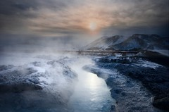 Industrial site ... (asmundur) Tags: blue sunset snow cold water iceland power freezing steam electrical photograpy grindavk 3xp svartsengi asmundur nothdr orbjrn manualblend