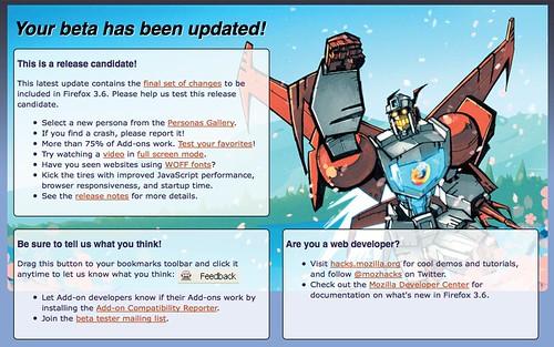 Page Web affichée lors de la mise à jour en Firefox 3.6 RC1