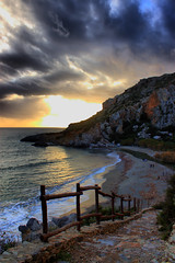 Preveli beach (Theophilos) Tags: sunset sea sky beach clouds greece crete rethymno preveli